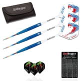 Red Dragon Peter Wright Snakebite Blue PL15 - 22 gram - 90% Tungsten Steel Darts with Hardcore Super Thick Flights, Red Dragon White Coated Aluminium Shafts, Wallet & Red Dragon Checkout Card